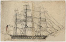 Sail Plan for USS Constitution in 1817 showing 13 Star Flag with Single Ring & Center Star