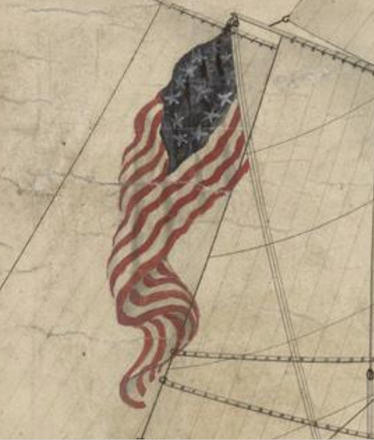 13 star flag on USS Constitution