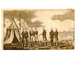 Weems, Life of Washington, 1815, Plate 114, The Surrender of Cornwallis, flag with large center star , enlargement